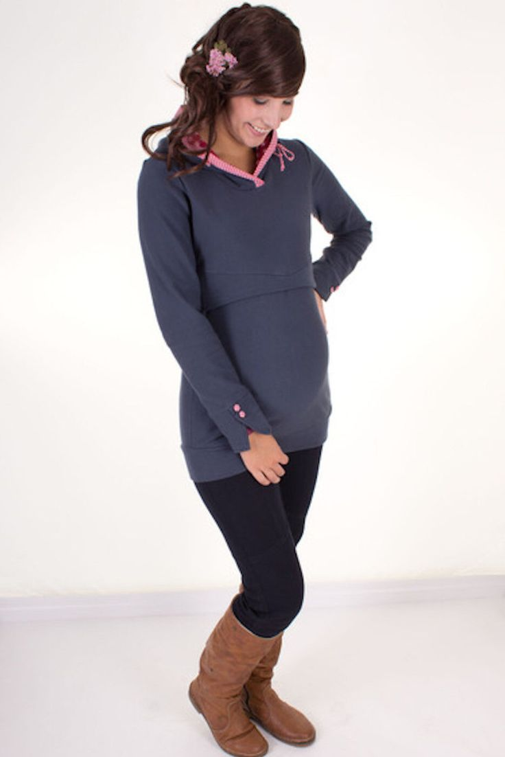 Maternity jumper / breastfeeding jumper / hoodie LOTTA // grey blue by VivalaMamaBerlin on Etsy https://www.etsy.com/listing/238295996/maternity-jumper-breastfeeding-jumper