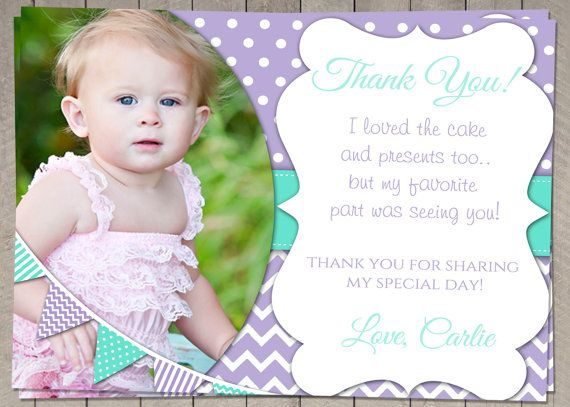 Birthday Thank You Card Purple and Aqua  by InvitaitonsByLittleP