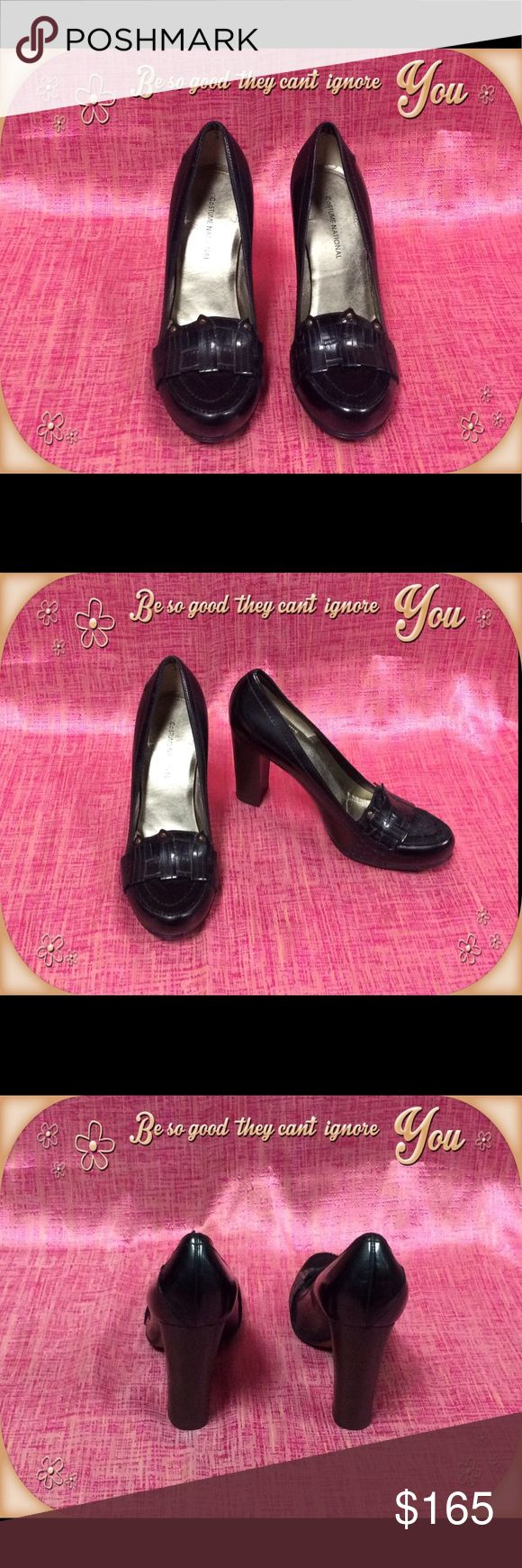 Authentic Costume National Heels Authentic black Costume National heels. Heels are made in Italy and in excellent condition. Shoes worn only a couple of times. Size 38 or US 8 Costume National Shoes Heels