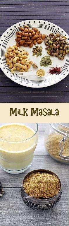 Milk masala powder recipe – This is added in a glass of milk along with sugar to make masala doodh or masala milk.