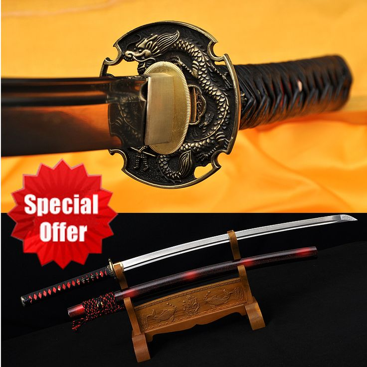 Special Offer Japanese Samurai Handmade Katana Sword Real Spring 1095 Steel Full Tang Blade Dragon Tsuba  Katanas Sale Sharp41""