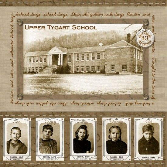 """.""""School Days"""" heritage layout: Upcycle an old school yearbook to make this, using a photo of the school building for background. Scan old photos with Pic Scanner app for iPhone & iPad, apply the app's retro filters, then reprint for use. Layout from digitalscrapbookplace.com."""