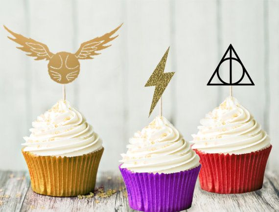 Harry Potter Cupcake Topper Set - Birthday Party - Hogwarts Party - Harry Potter Party - Decoration