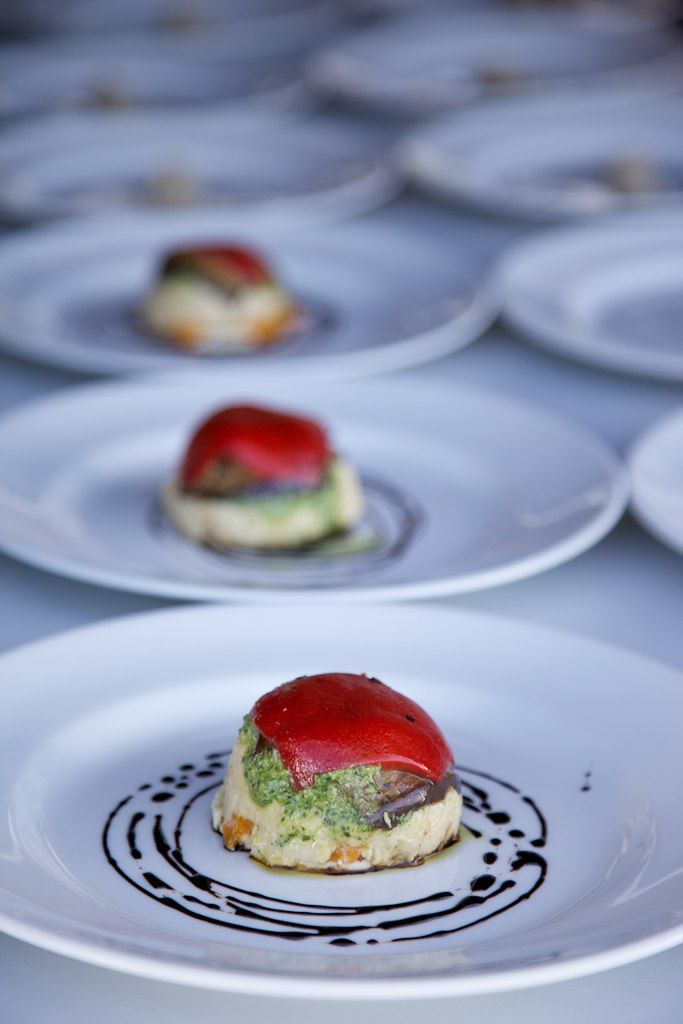 Entree - Mediterannean Vegetable & ricotta Stack www.essentialcaterer.com.au