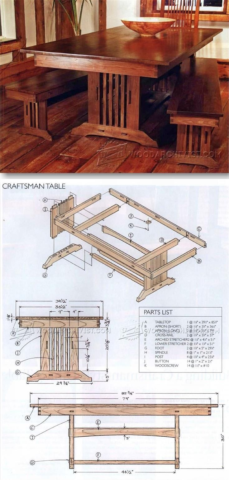 Craftsman Style Dining Table Plans - Furniture Plans and Projects | WoodArchivist.com