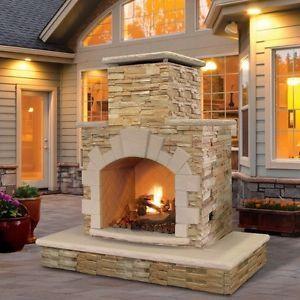 Propane-Fire-Pit-Gas-Outdoor-Fireplace-Patio-Backyard-Heater-Natural-Stone-Kit