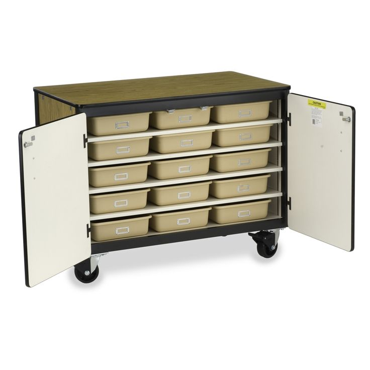 Small Mobile Storage Cabinet with Tote Trays - Locking