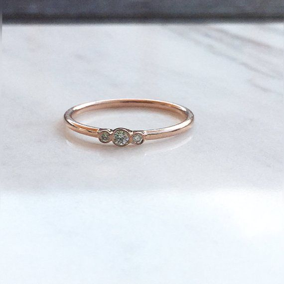 Trio Diamond Ring, 14k Gold Ring, Dainty Three Stone Bezel Set Ring, 14k Gold Three Stone Engagement Ring, Promise Ring, Minimalist Ring