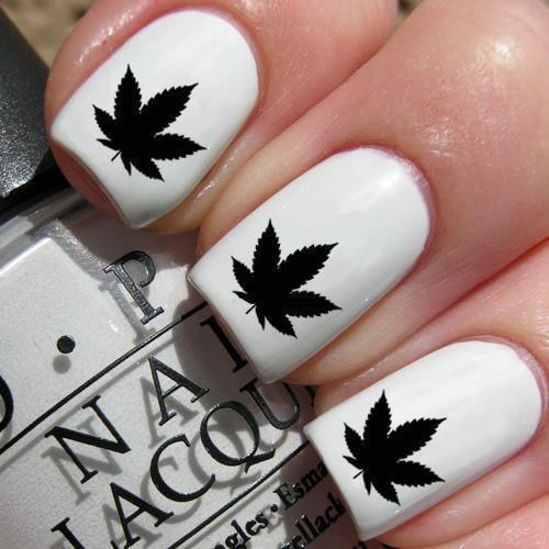 Black / White Cannabis leaf nail design - 251 Best Leaf Nail Art Gallery By Nded Images On Pinterest