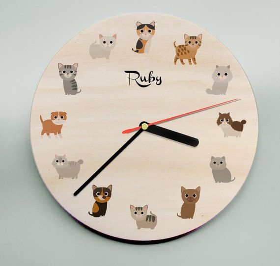 Personalised Clock / Childs Clock / Kids Room Decor / Wooden Wall Clock / Cats / Animal Clock / Personalized Clock