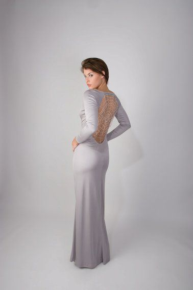 Silver evening gown with webbed back http://www.arcarocouture.com.au/