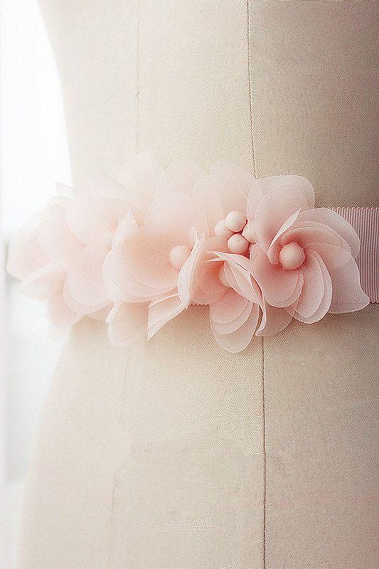 Pink Sash Wedding Belt with Satin Flowers