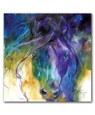 #zulily! Abstract Blue Roan Wrapped Canvas #zulilyfinds. I wonder if we could do this as a paint class painting! Its so pretty!
