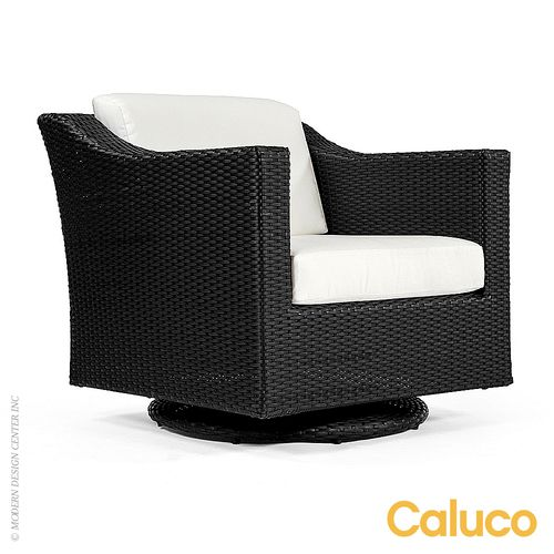 Caluco Dijon #swivel Rocker Club #chair is made of hand-woven polyethylene wicker over fully welded extruded aluminum frame. #rockingchairs http://www.allmodernoutlet.com/caluco-dijon-swivel-rocker-club-chair-825-5C/