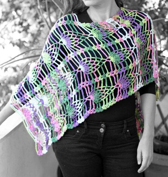 Spring  summer poncho multicolored yarn by MmeDefargeYarnworks