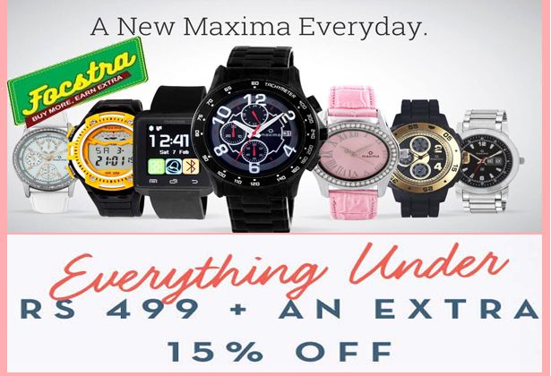 SALE EXTENDED!  Get your New year shopping fix at Flat 15% Extra Off! Shop Now >>  #watch #maxima #Tatacliq #Focstra #Sale