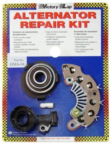 Victory Lap GMA-04 Alternator Repair Kit, Model: GMA-04, Car & Vehicle Accessories / Parts. All new parts of Original Equipment Manufacturer (OEM) specifications. Includes illustrated instructions. An economical, reasonable repair option. Includes parts needed. Fits 90 percent of American made automobiles.