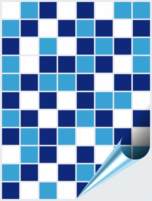 Fliesenaufkleber Mosaik blau-weiß 15cm x 20cm