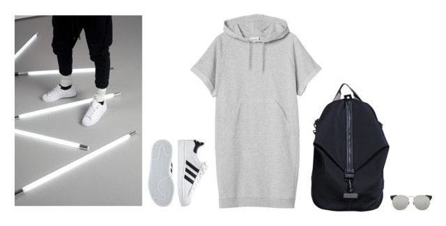 """""""those vibes"""" by marissa-m-g ❤ liked on Polyvore featuring Monki, adidas, Linda Farrow, backpack, sporty and minimalism"""