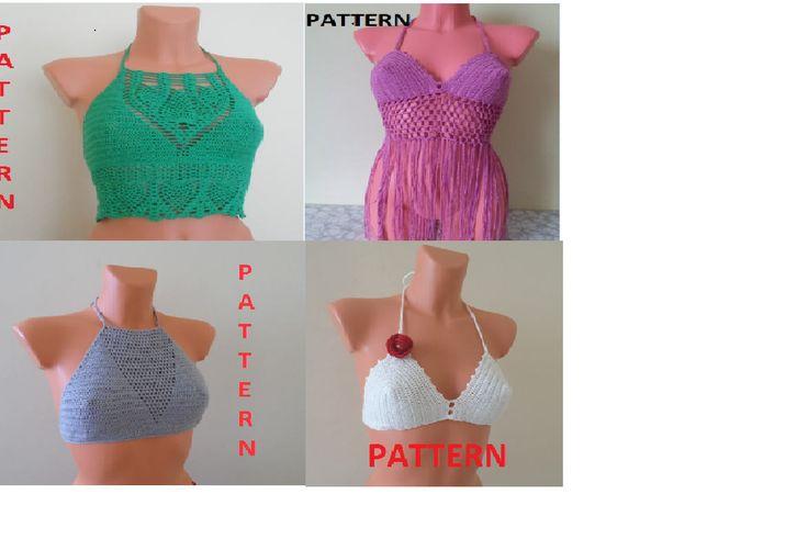 Crochet Halter Top Pattern, Crochet Blouse Pattern by SIMDESIGNER on Etsy
