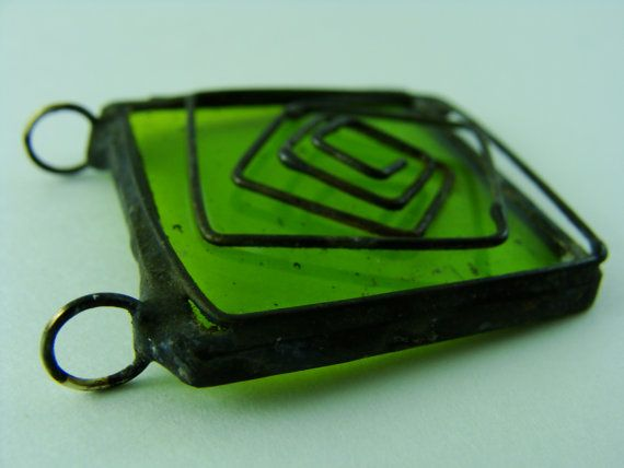 Rustic Spiral Square Glass Pendant by BranchingHope on Etsy