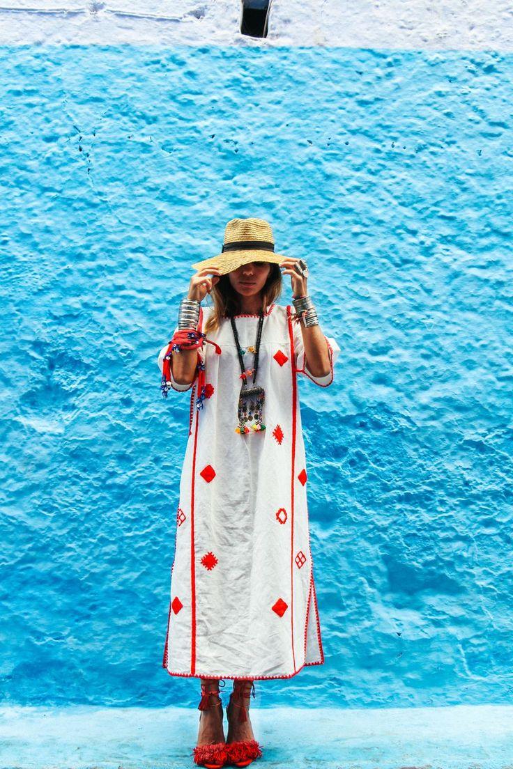 Kahenas Embroidered Linen Dress via bakchic |  Women's Boho Clothing