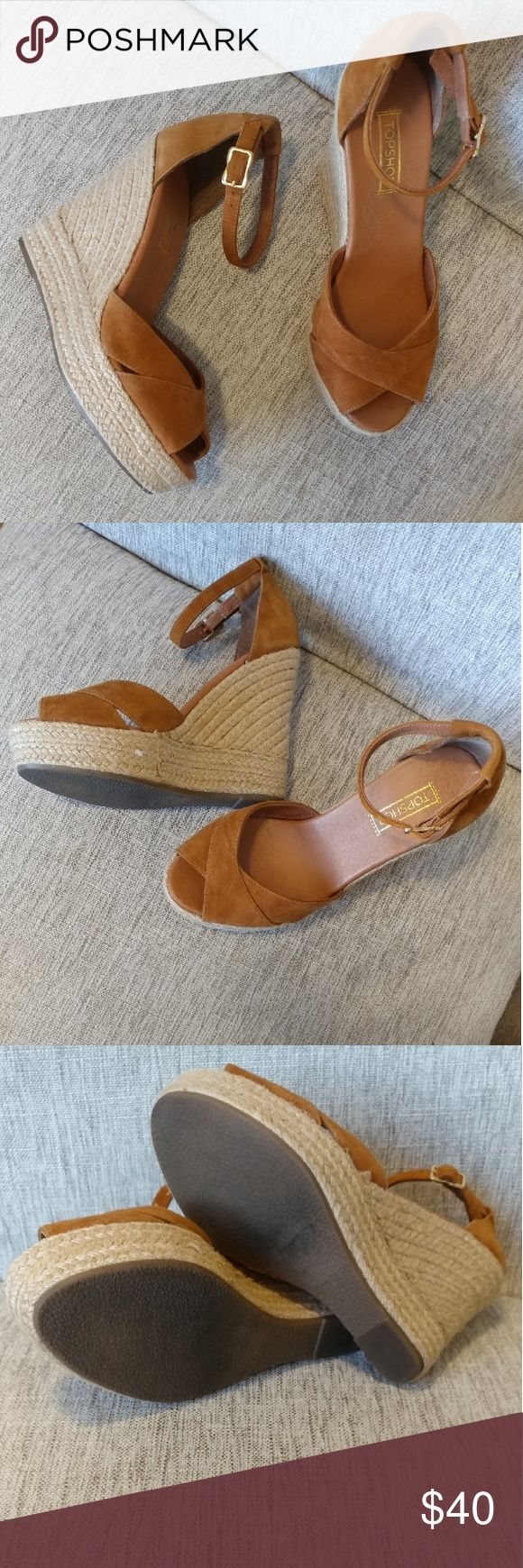 Topshop Suede Camel Espadrille Wedge Sandals So flattering with everything! Excellent condition camel suede Topshop Espadrille wedge sandals. Size 8 Topshop Shoes