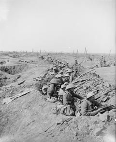 Troops in reserve, WWI, 25 Sept 1916, Somme, Battle of Morval, Near Ginchy. © IWM