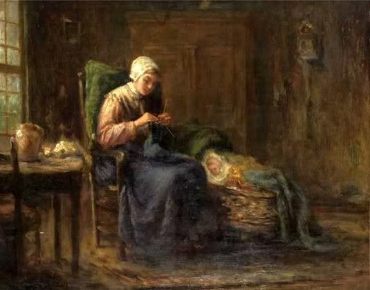 Mother Knitting With Baby By Her Side  Jozef Israels (1824-1911)