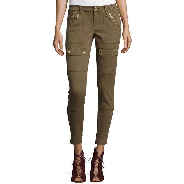 MICHAEL Michael Kors Canvas Skinny Cargo Pants ($92) ❤ liked on Polyvore featuring pants, khaki, slim leg pants, zipper pants, skinny khaki pants, skinny cargo pants and brown pants