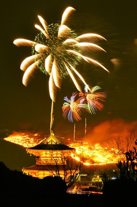 """Burning of Mount Wakakusa, Nara, Japan: It is a ritual called """"Yamayaki (山焼き)"""" to appeasement those who have already passed way, as well as a prayer for peace. The burning is also said to help prevent wildfires and promote revitalization of the mountain's vegetation – wakakusa literally translates as 'young grass."""