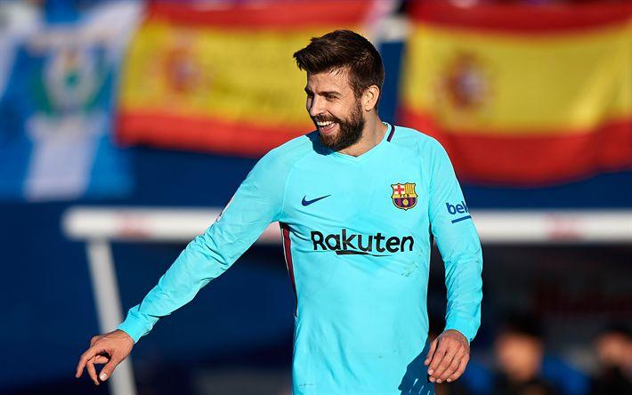 Download wallpapers Gerard Pique, Barcelona FC, Spanish footballer, La Liga, portrait, Spain