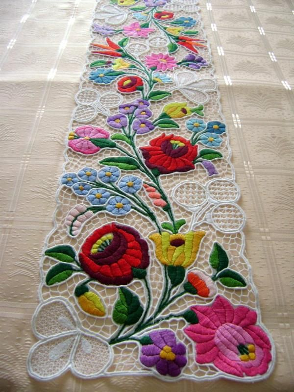 Kalocsa lace table runner with Hungarian pattern