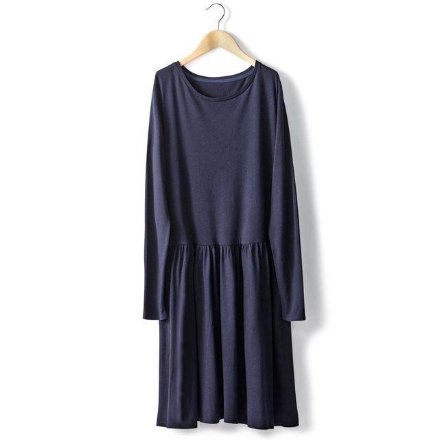 Image Sukienka z długim rękawem, z okrągłym kołnierzem, z bawełny, z modalu R essentiel