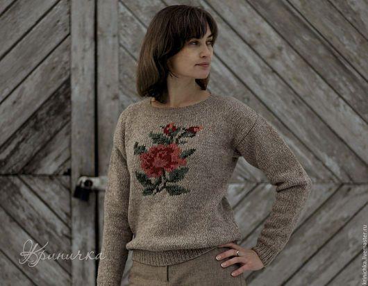Кофты и свитера ручной работы. Ярмарка Мастеров - ручная работа. Купить Шерстяной свитер с розой. Handmade. Бежевый, шерстяной свитер
