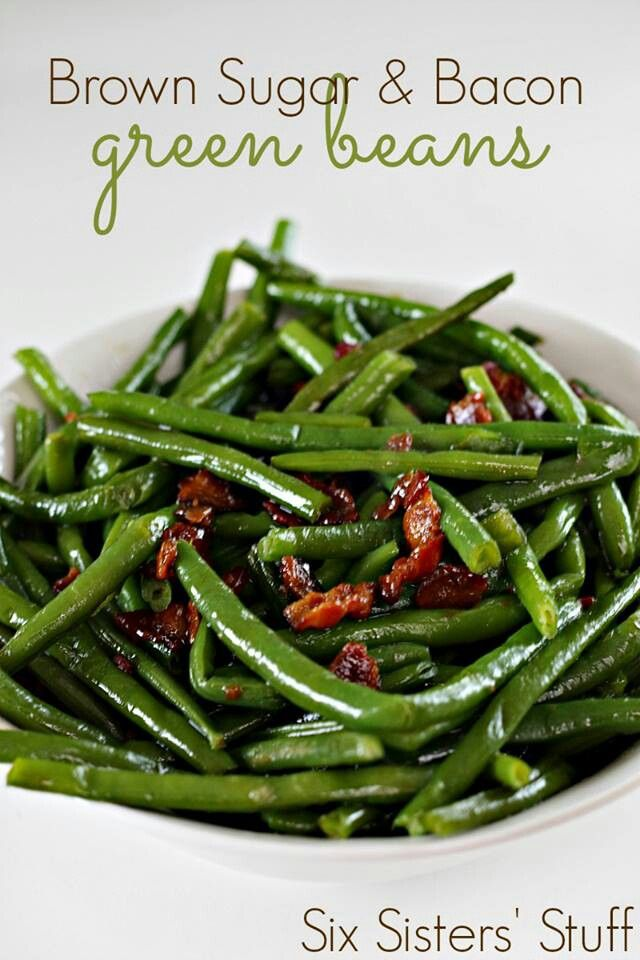 Brown sugar and bacon green beans  Blanch beans: in salted boiling water for 3 to 4 min. Remove- plunge in ice cold water, Drain when cool. Cook bacon 2min, add onion, garlic cook 3 to 5 min. saucepan, melt butter, Sprinkle flour, whisk,