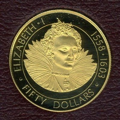 """Cayman Islands Gold Coins - $50 Dollars Gold Coin of 1977, QueenElizabeth I- """"Queens of England""""."""