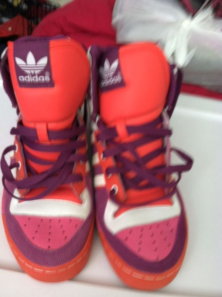 Women's Adidas Attitude Hi Top Basketball Sneaker Shoe Pink Purple Orange Sz 10 | eBay