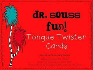 Tales of an Elementary Teacher: Dr. Seuss Fun! Tongue Twister Cards Freebie!