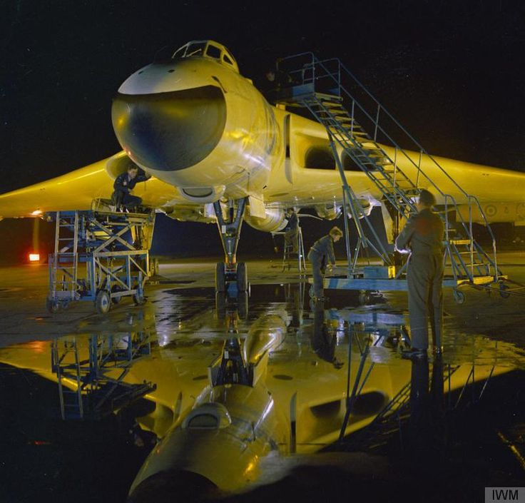 An Avro Vulcan B.2A of No 617 Squadron undergoing final preparations at RAF Scampton, Lincolnshire prior to a sortie with a Blue Steel stand-off nuclear weapon.