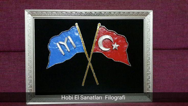 Kayı ve türk bayrağı filografi.