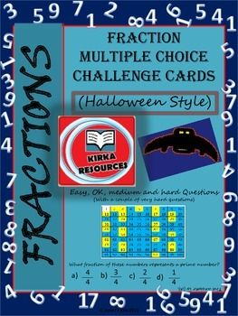 96 fraction challenge cards - 1 multiple choice challenge per card  - 4 cards per A4 sheet - 12 cards per topic  - Designed specifically to print and laminate in color/ colour - 24 page resource  Fractions, fractions and more fractions!!
