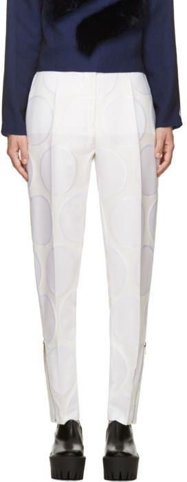 Stella McCartney Cream Dot-Patterned Zip Trousers