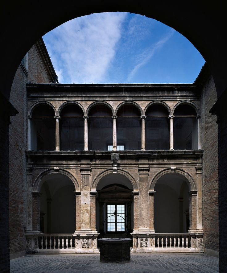 Perfect Order in Renaissance architecture at Fermo, Marche, Italy - Palazzo Azzolino, architect Antonio da Sangallo, 1532