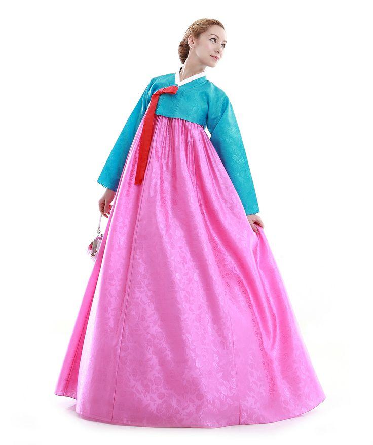 http://www.antiquealive.com/store/detail.asp?idx=4909 Custom Made Faux Silk Blue Pink Evening Party Hanbok Korean Dress