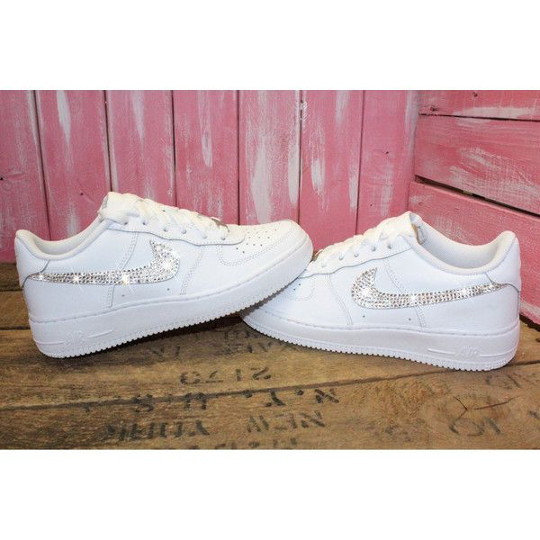 Girls Swarovski Nike Air Force 1 Shoes Customized With Swarovski... (515 BRL) ❤ liked on Polyvore featuring shoes, grey, women's shoes, grey shoes, low shoes, rhinestone shoes, gray shoes and swarovski crystal shoes