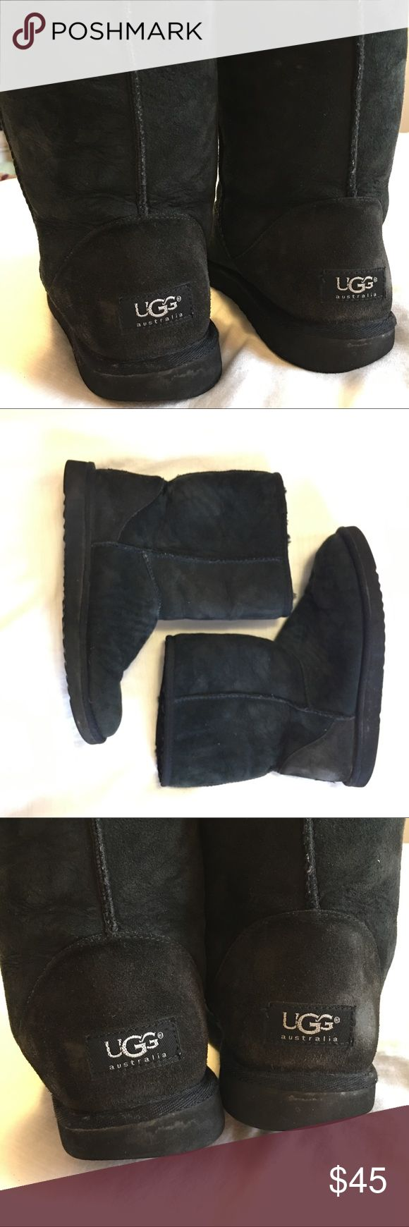 Black Ugg Boots Short black uggs. They do show some signs of wear (i.e water marks) and could use a good cleaning. The soles show wear on the back outsides as pictured. Otherwise, they're in great condition.  Size women's 9. UGG Shoes Combat & Moto Boots