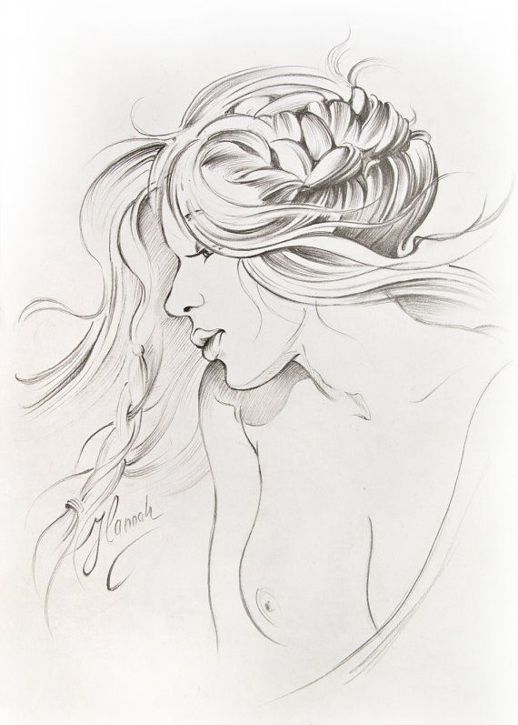 """Kiss of Wind"" -pencil drawing by Anna Miarczynska"