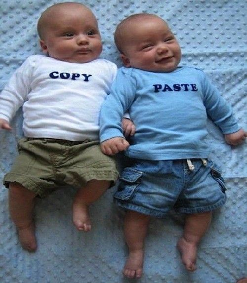 These onesies are all pretty funny, but copy/paste is my fav (and the most appropriate for hubs).