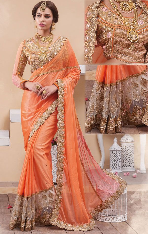 Show details for Divine Orange Latest Saree with Designer Blouse